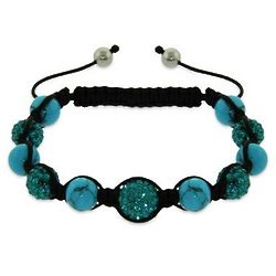 Blue Austrian Crystal and Turquoise Bead Shamballa Style Bracelet