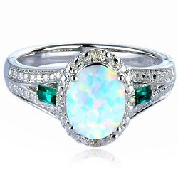 Lab-Created Opal, Emerald, and Diamond Ring in Sterling Silver