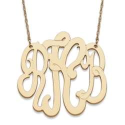 Large 14 Karat Yellow Gold 3 Initial Monogram Necklace