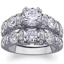 Platinum-Plated Round Cubic Zirconia Wedding Ring