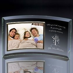 Family Tree Curved Glass Horizontal Photo Frame