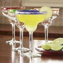 Colored Rim Margarita Glasses