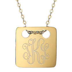 Classic Engraved Monogram Gold Square Tag Pendant