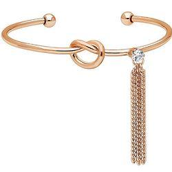 Rose Gold-Tone CZ Fringe Love Knot Cuff Bracelet