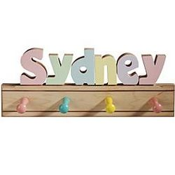 Kids Puzzle-Name Coat Rack in Pastel Tones