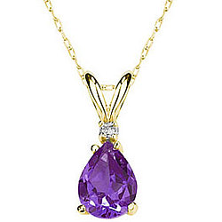 Pear Amethyst and Diamond Stud Pendant in 14K Yellow Gold