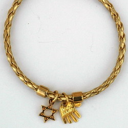 Hamsa and Star of David Gold Braided Leather Bracelet