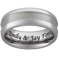 Men's Engraved Tungsten Polished & Satin Band
