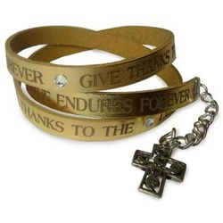 Give Thanks to the Lord Leather Wrap Bracelet
