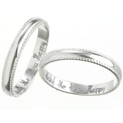 Sterling Silver Slim Engraved Milgrain Purity Band