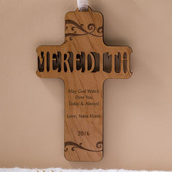 Personalized Bless This Child Wood Baby Cross