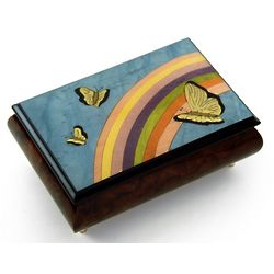 Light Blue and Wood Tone Butterfly and Rainbow Music Box