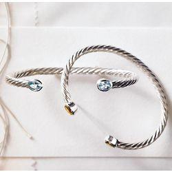 Sterling Silver Blue Topaz Birthstone Cuff Bracelet