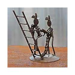 Firefighters at Work Recycled Metal Sculpture