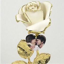 Porcelain White Rose with Gold Stem and Photo Heart