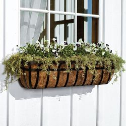 English Hay Basket Window Planter with Coco Liner