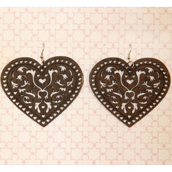 Wooden Filigree Heart Earrings