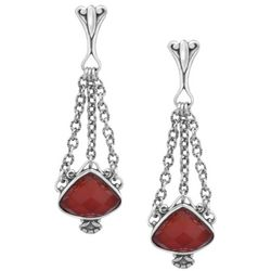 Changing Seasons Faceted Carnelian Triangle Drop Earrings