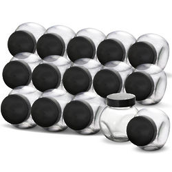 Kamenstein Glass Canister Spice Jars with Black Caps