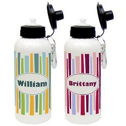 Retro Stripes Aluminum Water Bottle