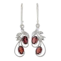 Crimson Passion Garnet Dangle Earrings
