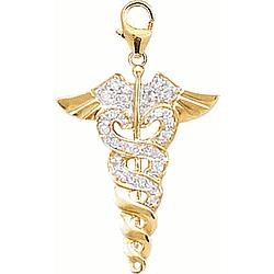 14k Gold Diamond Caduceus/Medical Charm