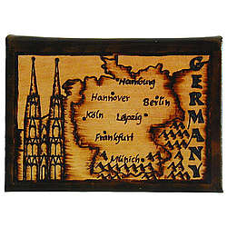 Germany Map Leather Photo Album in Natural
