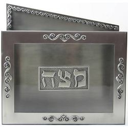 Pewter and Glass Matzah Box