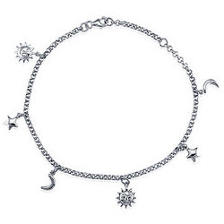 Sterling Silver Anklet Chain with Celestial Charms