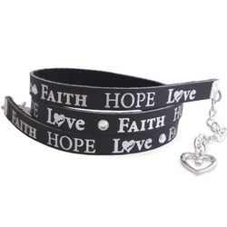 Faith, Hope and Love Leather Wrap Bracelet