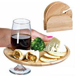 Wooden Appetizer Plates with Holder