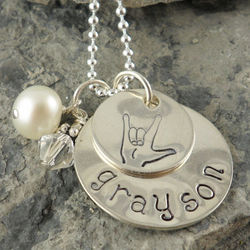I Love You Sign Language Hand Stamped Necklace