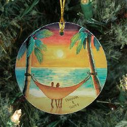 Personalized Ceramic Beach Sunset Ornament