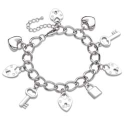 Heart and Key Silvertone Charm Bracelet