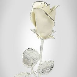 Porcelain White Rosebud with Silver Stem