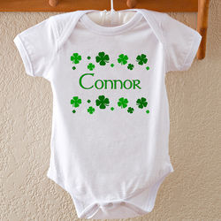 Personalized Shamrock Shower Baby Bodysuit