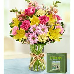 Celebrating Mom Book and Flower Bouquet