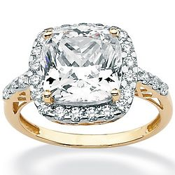 Cushion Cushion-Cut Cubic Zirconia 10K Gold Engagement Ring