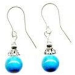 Simple Turquoise Howlite Drop Earrings