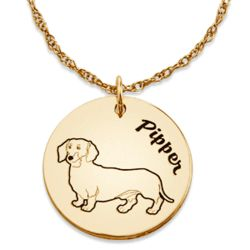 Engraved Gold-Plated Name and Dog Breed Pendant