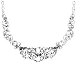Brilliance Sterling Silver Heart Statement Necklace