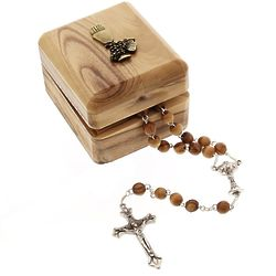 First Communion Olive Wood Rosary & Box