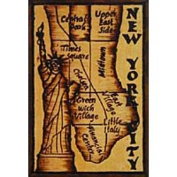 New York Map Leather Photo Album in Natural