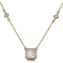 Asscher CZ Pendant in Gold over Sterling Silver Necklace