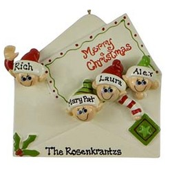 Personalized Elf Christmas Letter Ornament with 4 Elves