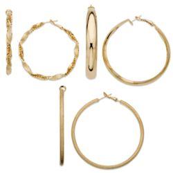 3-Pair Fab Fashion Hoop Earrings Set