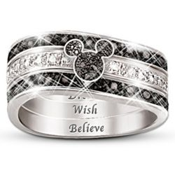 Hidden Message Mickey Mouse Three Band Ring