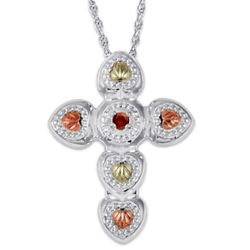 Gold and Sterling Silver Birthstone Cross Necklace