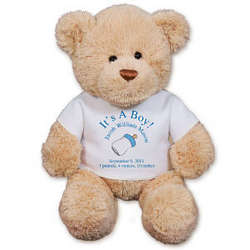 Personalized New Baby Boy Teddy Bear