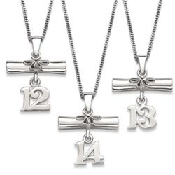 Sterling Silver Diploma and Graduation Year Necklace
